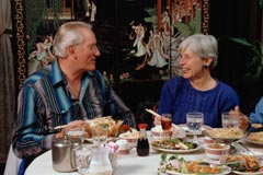 Couple dining; Actual size=240 pixels wide